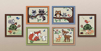 Woodland Animal Tales.Forest Friends,Nursery Art Fox, Owl, Baby/Kids Wall Decor