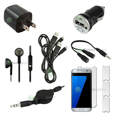 10pc NEW 2X USB Cable+Car/Wall Charger+Headset for Phone Samsung Galaxy S7 Edge