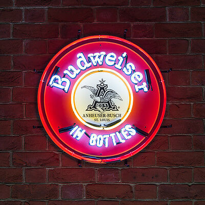 New Traditional Neon Light Pub Manave Advertising Beer Sign BUDWEISER IN BOTTLES