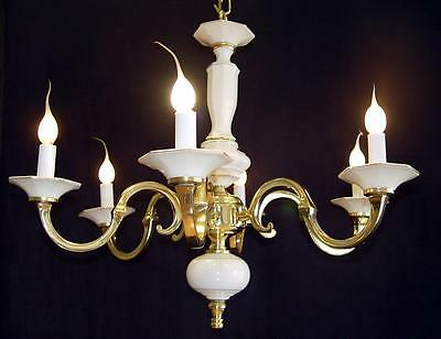 "Vintage BRASS 24"" x 20"" Spanish 6 Light WHITE PORCELAIN Chandelier Gold Accents"