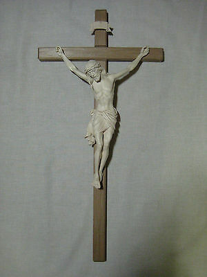 "25"" Hand Carved Crucifix on Strait Cross, Unique Wood Carving made in Italy"