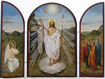 Resurrection Triptych, Risen Christ, Angel & Women at Tomb - Russian Icon