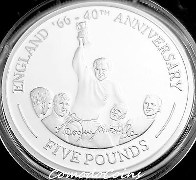 2006 Gibraltar £5 Five Pound Silver Proof Coin Boby Moore FIFA World Cup Winner