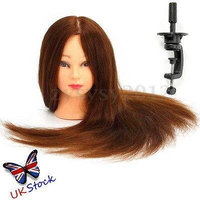 24'' Hairdressing Training Practice Head Mannequin Clamp 100% Real Human Hair UK