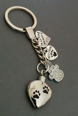 Memorial keepsake Heart urn key ring, Paw prints, Dog, Cat