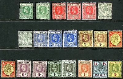 ST LUCIA-1921-30 A lightly mounted mint set with all listed shades Sg 78-88