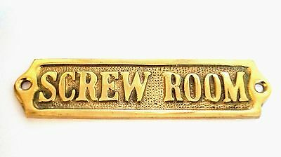 "Door Sign "" Screw Room"" Brass - Plaque And Signs - Nautical - Boat - Maritime"