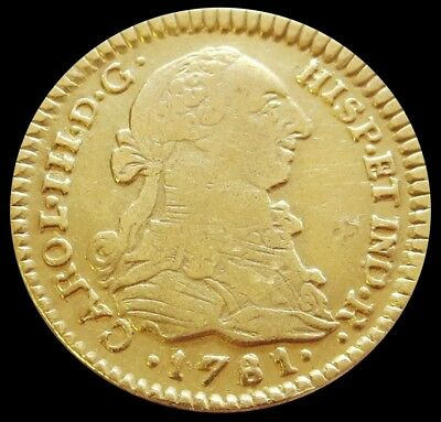 1781 P Sf Gold Colombia Escudo Charles Iii Coin Vf Condition Popayan Mint