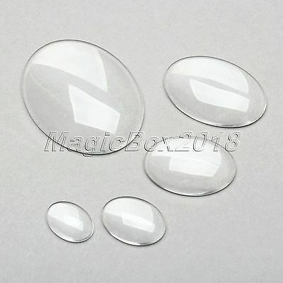 Clear Oval Glass Cabochon Dome Flat Back Crystal Embellishments Jewellery Making