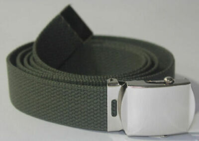 U.s Military Style Od Green Web Belt And Silver Plated Chrome Buckle U.s.a Made
