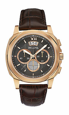 Bulova Men's 97B136 Black Dial Date Display Watch with Brown Leather Band