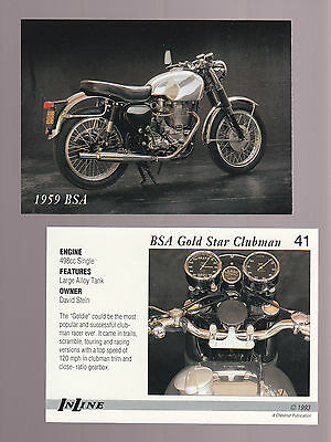 1959 BSA GOLD STAR CLUBMAN 500 498cc 1993 Inline Classic Motorcycle CARD # 41