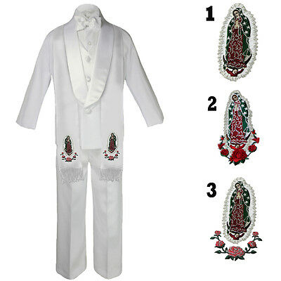 Baby Infant Toddler Boy Wedding Formal Shawl Lapel White Tuxedo Suits Stole S-20