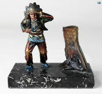 Antique Native Indian Chief Bronze Cold Painted Standing on Marble Base