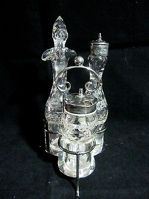 Antique Victorian Pinder Bros Sheffield England Silver Plate Cruet Set 1877-1912