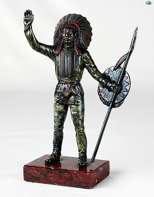 Antique Native Indian Chief Bronze Cold Painted Figure on Marble Base