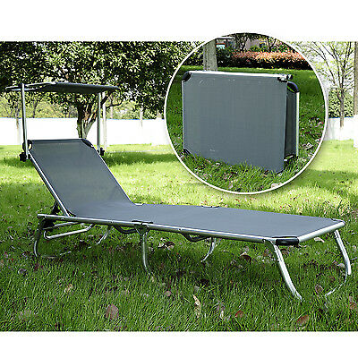 Outsunny Patio Lounge Chair Chaise Garden Sun Lounger Outdoor Furniture w/Canopy
