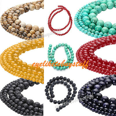 """4-10mm Round Lava Rock Jade Matte Agate Turquoise Gems Loose Beads 15.5""""L Colors"""