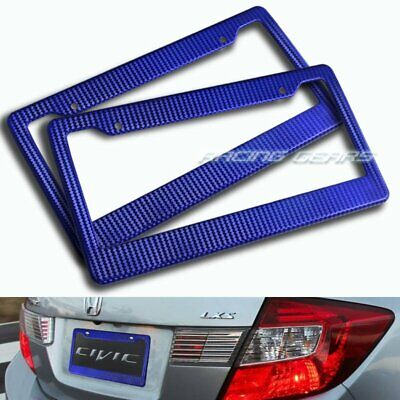 1 X Blue Carbon Style License Plate Holder Cover Frame Front Or Rear Universal 2