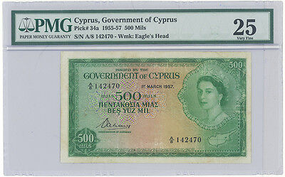 Cyprus 1957 500 MILS Pick #34a PMG 25 Very Fine