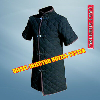Thick Black Color Viking Gambeson Medieval Padded Aketon Short Sleeves Armor SCA