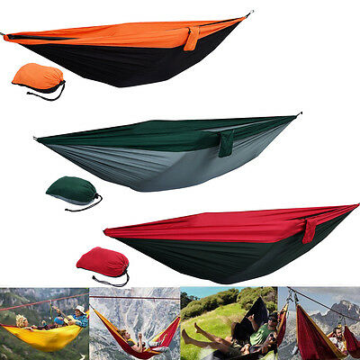 Double Person Hammock Travel Sleep Swing Camping Parachute Nylon Fabric Bed