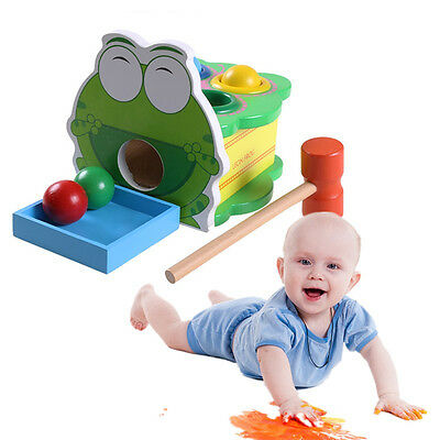 New Wood Kids Toy Hammering Wooden Ball Hammer Game Educational Toy Children