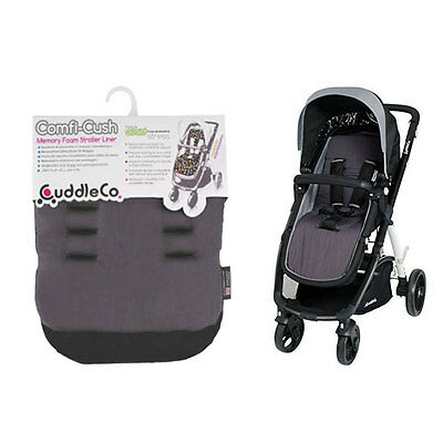 New Brand Cuddleco Comficush Memory Foam reversible stroller liner Grey & Black
