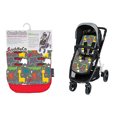 Brand New Cuddleco Comficush Memory Foam reversible stroller liner Boogie Jungle