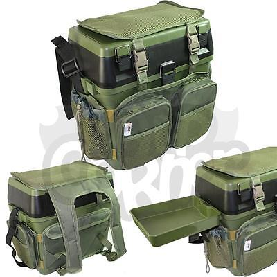 Fishing Green Seat Box System With Harness Rucksack Converter Includes Side Tray