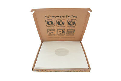 "Analogue Works LP/12"" Anti-Static White Inner Record Sleeves, Pack of 50"