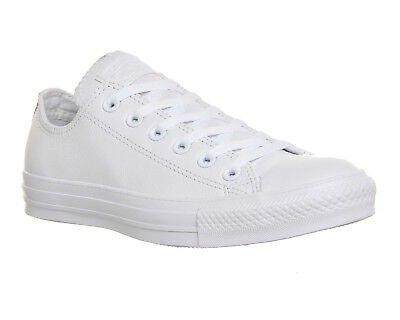 Converse All Star Low Leather WHITE MONO LEATHER  Trainers Shoes
