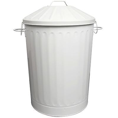 90L Colour Metal Dustbin House Garden Bin with Special Locking Lid White