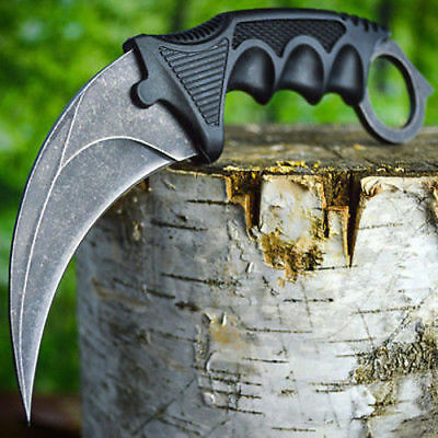 TACTICAL COMBAT KARAMBIT NECK KNIFE Survival Hunting BOWIE Fixed Blade STONEWASH