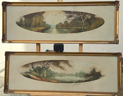 Fine Pair of Framed Antique Signed Prints by M Grant of Pastoral Scenes (a/f)