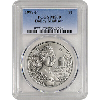 1999-P US Dolley Madison Commemorative BU Silver Dollar - PCGS MS70