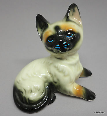 Figurine Siamese Kitty Cat Lying Bone China Taiwan 2.75in Original Label