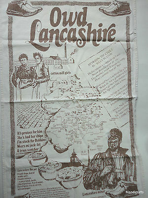 Tea Dish Towel Souvenir Owd Lancashire Map Recipes Scenes Captions Used UK Holes