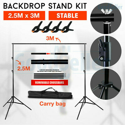 Photography Large 2x3m Black White Backdrops Screen Background Support Stand Kit