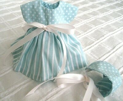 "8"" Ginny Doll Clothes, Handmade 'Fliss' Blue and White Cotton Dress & Bonnet"