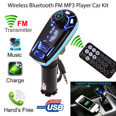 Car MP3 Player FM Wireless Transmitter 2 USB SD LCD Car Charger Kit Bluetooth