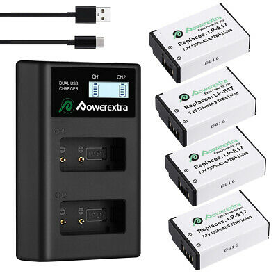 LP-E17 Battery + LCD USB Charger for Canon EOS 750D 760D M3 M5 Rebel T6i T6s T7i