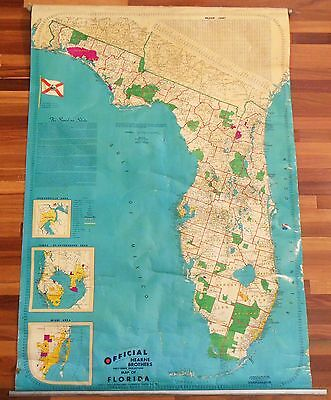 Vintage Classroom Pull Down Map Florida Official Hearne Brothers Shade Cloth