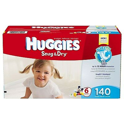 Huggies Snug and Dry Diapers, Size 6, 140 Counts