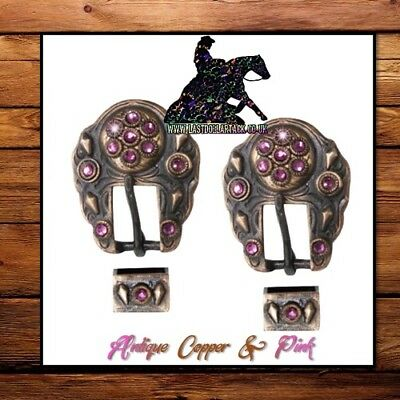 Dark Bronze Copper & Pink Crystal Buckles Replacement For Western Headstall *2Pk