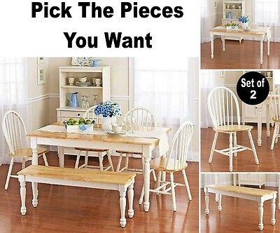 PICK YOUR PIECES White Bench Chair Table Dining Set Kitchen Room Sets Chairs