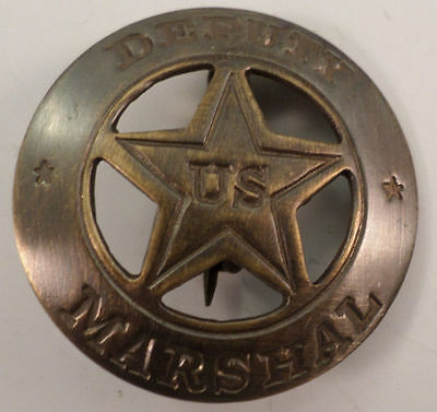 Embossed Deputy Us Marshal Solid Brass Badge Pin #142