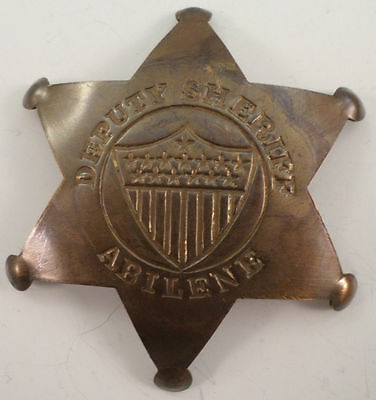 Embossed Star Sheriff Solid Brass Badge Pin #101
