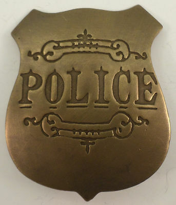 Embossed Police Solid Brass Badge Pin #147