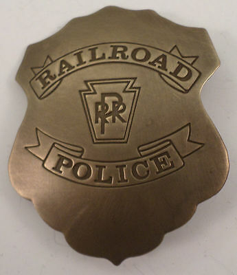 Embossed Railroad Police Rr Solid Brass Badge Pin #169